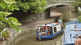 Boats in river Avon. Couple of boats in the Avon river in Bath Spa, Somerset, England, in Sydney garden Stock Photography