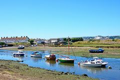 Boats on the River Axe, Axmouth. Royalty Free Stock Photo
