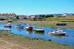 Boats on the River Axe, Axmouth. Royalty Free Stock Photography