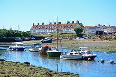 Boats on the River Axe, Axmouth. Stock Image