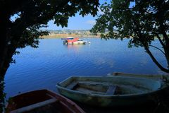 Boats on the river Axe. Near town of Seaton in East Devon royalty free stock photography