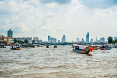 Boats on the river in Bangkok. Boats floating on the river in Bangkok Stock Images