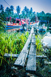 Boats by river bank Royalty Free Stock Image