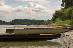 Boats on the river bank. Boats moored on the river bank Royalty Free Stock Image