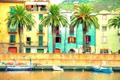 Boats on the river, Bosa, Sardinia Royalty Free Stock Photo
