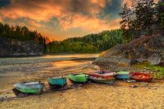 Boats through river coast Stock Photography