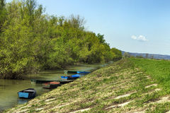 Boats in the river Danube Stock Photos
