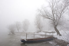 Boats on river Danube mid winter Royalty Free Stock Photos