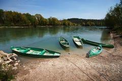 Boats in a river Drava. Several boats taken where river Mura flows into river Drava, on Croatian / Hungarian border stock photos