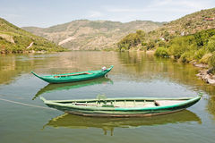 Boats on River Duero Portugal. Two boats in calm water on river Duero Portugal Royalty Free Stock Photos
