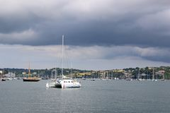 Boats on the River Fal, Cornwall. Boats moored on the River Fal in Falmouth Stock Image