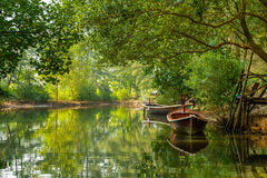 Boats on the river framed by greenery, Nayang, Phuket Stock Images