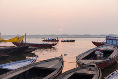 Boats on the River Ganges at dawn Royalty Free Stock Photography