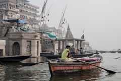Boats at the river ganges Stock Photography