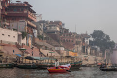 Boats at the river ganges Stock Photos