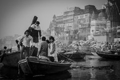 Boats at the river ganges Royalty Free Stock Images