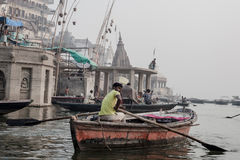 Boats at the river ganges Royalty Free Stock Photography