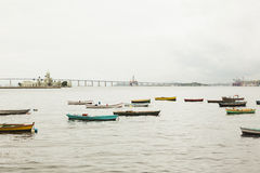 Boats in river infront of castle in Rio De Janero Royalty Free Stock Photos