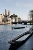 Boats on the river Limmat. And Zurich old city center Stock Image