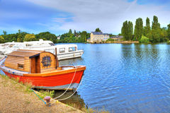 Boats in river Mayenne,France Royalty Free Stock Photos