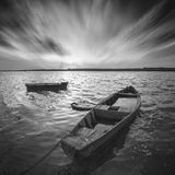 Boats on a river. Monochrome picture Royalty Free Stock Image