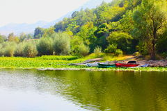 Boats on the river. (Montenegro Royalty Free Stock Photography