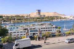 Boats on river Nile. Aswan, Egypt - January 17, 2015: View at the boats on the river Nile in Aswan, Egypt Royalty Free Stock Photography
