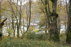 Boats on the river in Plitvice national park Stock Images