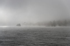 Boats on River Rhine. Cargo ships in the river Rhine on a foggy day Stock Image