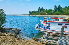 The boats at river`s estuary, Ngwesaung, Myanmar stock image