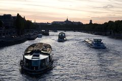 Boats on the River Seine, Paris. River Seine in Paris in France, Europe Royalty Free Stock Photo