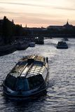 Boats on the River Seine, Paris. River Seine in Paris in France, Europe Stock Photos