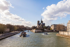 Boats on the River Seine in Paris France Royalty Free Stock Photos
