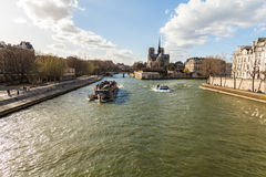 Boats on the River Seine in Paris France Royalty Free Stock Photo