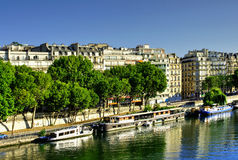 Boats on River Seine, Paris, France Stock Images