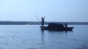 Boats in the river at Varanasi stock footage