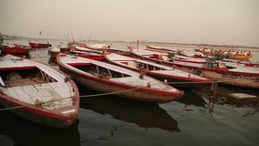 Boats in the River at Varanasi stock footage