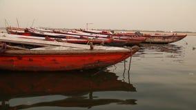 Boats in the River at Varanasi stock video footage