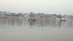 Boats in the River at Varanasi stock video footage