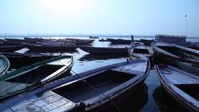 Boats in the River at Varanasi stock video