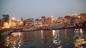 Boats in the river Varanasi stock video
