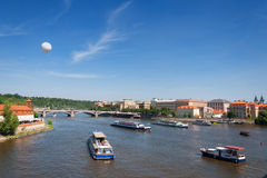 Boats on the river Vltava in Prague Royalty Free Stock Photos