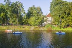 Boats on river Vltava royalty free stock photo