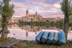 Boats on the riverbank in Salamanca Royalty Free Stock Photo