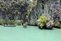 Boats at the rock,Thailand Royalty Free Stock Photo