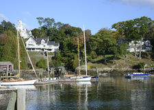 Boats in the Rockport Marine Harbor in Maine Stock Images