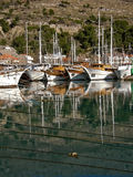 Boats and ropes in the sea Stock Photography