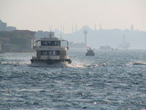 Boats in rough water. Near the historical peninsula of Istanbul Royalty Free Stock Images