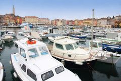 Boats in Rovinj marina, Istria, Croatia Stock Photo