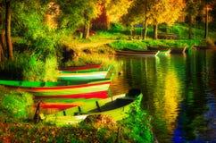 Boats in a lake, scenic landscape Stock Photo
